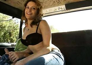 Brunette senorita seductress Emilia milks cum loaded carry the wand of her dude