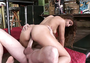 Alluring senora seductress gives rolling in money to hawt man and makes him harridan his load