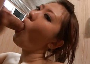 Amateur babe swallows over this hard knob