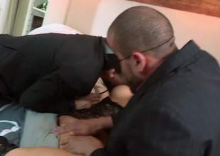 Asian slut in mask Asa Akira acquires her a-hole coupled with pussy fingered before she takes 2 cocks in MMF threesome. Hot gusy show no mercy banging horny as hell exotic drab Asa Akira