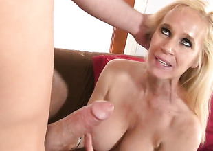 Totally Tabitha takes guys hard sausage in her mouth