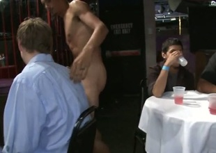 Fucking his constricted butt in front of in every direction his friends