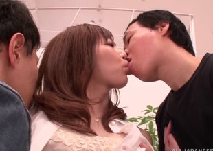 Opprobrious Japanese MILF getting tag teamed overwrought 2 energetic guys