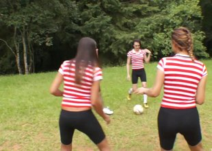 Soccer team of morose t-girls gangbang one lucky guy outdoors