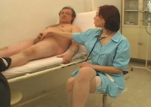 Sexy guardianship Alicia is sucking her patient's juicy penis