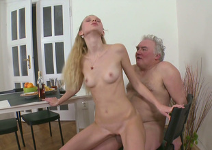 Underfed blond steady old-fashioned fucks her BF and his old grand-dad