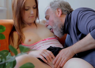Charming redhead hottie Sveta gets her pussy eaten out by an old fart