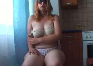 Nasty light haired bitch there sunglasses pets her hungry bushy snatch with toy