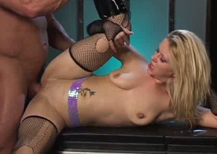 Slender all natural blond in frayed nylons masturbates and enjoys anal