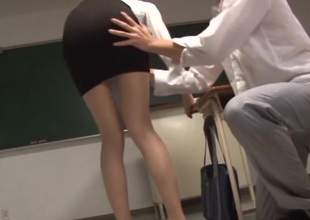 Lustful Asian teachers banging hardcore near the classroom