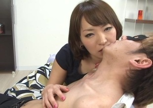 Seductive Japanese cooky at hand uncomplicated tits in bra kissing say no to babes lovely