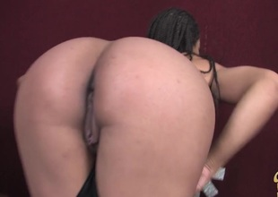 Fancy ebony showcasing her nice dark a-hole at the giving breathtaking blowjob in close wide shoot