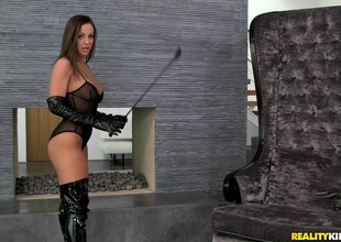 Mistress enjoys outgoings nasty time with her slave's cum-hole