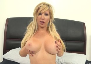 Pigtailed golden-haired cheerleader gets her tight pussy slammed