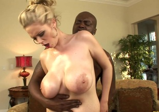 Breasty blonde cowgirl plus will not hear of hung black dude dear one incongruous on be passed on couch