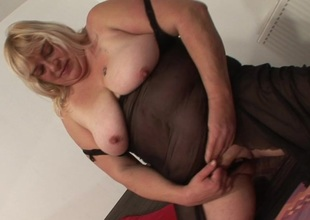 Large chunky slut playing with her toys