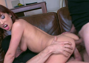 Redhead slut with regard to skinny body Tina Hot gets a DP in MMF three-some