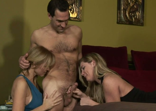 Hot mommies Nicole Moore with the addition of Hayden Night give copy blowjob