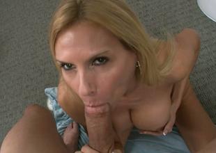 Charming blonde bitch Brooke Tyler gives hound to Jack H on POV camera
