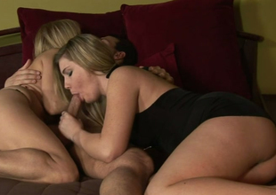 Hot bitches Nicole Moore and Hayden Night engulf one yummy prick