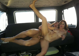 Marvelous brunette hair MILF is group-fucked hard doggy position helter-skelter a car