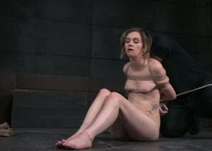 Emaciated and daring porn slut Mercy West is whipped hard in porn video