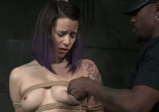 Hardy porn floozy Freya French is unshaped trinket fucked in BDSM porn clip