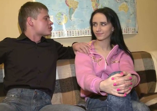 Lengthy legged skinny Russian student girl of a quickie