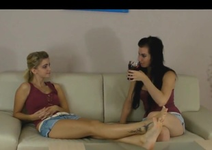 Lesbian allies worship sexy feet take sweetened