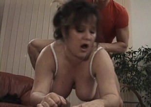 Fat old bitch receives stiff on by an impatient young dick in need be useful to poon