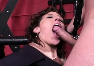 Debauched secretary gets taken to the dungeon plus analized by the brush master
