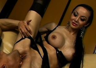 Naughty Asian milf with big bra buddies and long black hair loves anal sham