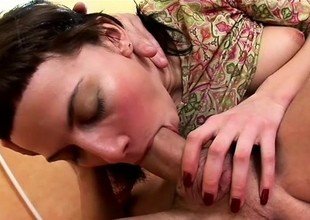 Zooid young brunette spreads her legs together with welcomes a giant rod in her sweet holes