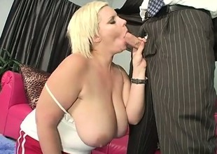 Naughty chubby slut gives a mean boob venture with her gigantic boobs