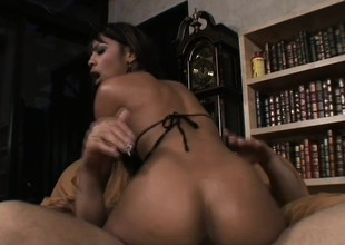 Downcast sister gets her mean pussy and ass down onto the white cock again