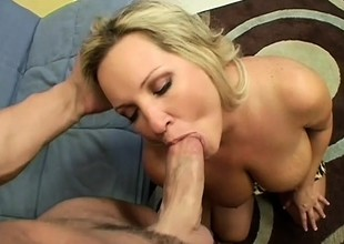 Huge breasted blonde mom Rachel wildly rides a young stud's hard cock
