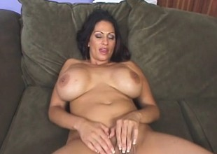 Chief MILF at hand enormous breasts uses them at hand fuck a hung dude