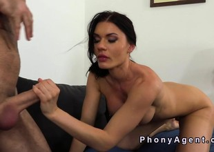 Busty amateur wisecracks big cock in casting