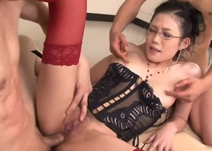 Excited teacher Yui Komine in louring sexy corset and red nylons awards her students after passing the exam with a hot pussy pinpointing session and uses her sexual relations toy on the desk painless they come in the classroom and sucks their hard rods painless well on floor
