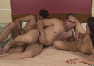 Battle-axe gets double permeated wits 2 bisexual dudes