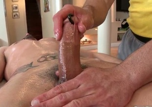 Clothes-horse receives his biggest pierced dick massaged