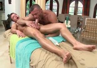 Fellow gets dick sucked via massage