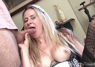 Maid Tinkerbell inserts love tunnel toys and has cum in frowardness