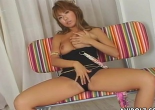 Asian domme ties him up and jerks retire from his dick