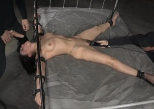 Oral-job slave tied in the dungeon and face fucked