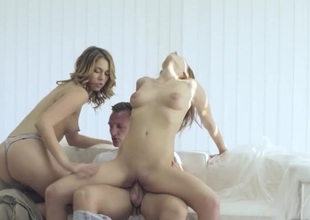Passionate beauties share his big load of shit