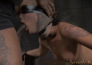 Blindfolded and bound slut fucked from behind
