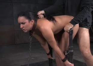 Collared and handcuffed girl drilled like a dealings slave