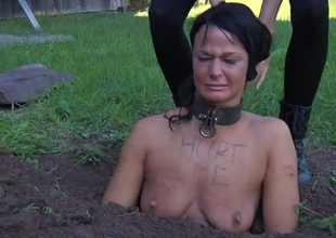 Collared girl bound up approximately the dirt and humiliated