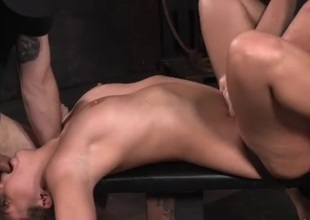 Bound and widen girl is their sex slave